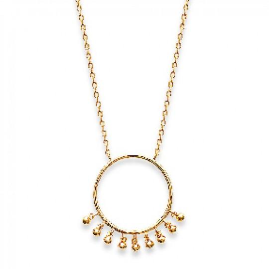 Collier anneau breloques boules bohême Plaqué Or - Femme...