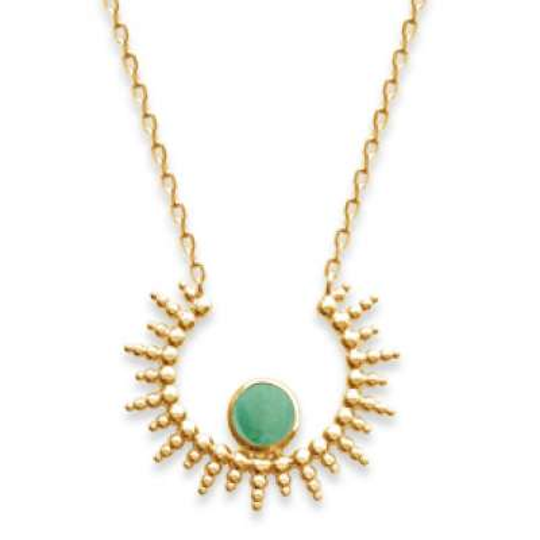 Collier soleil pierre verte aventurine Plaqué Or - Femme - 45cm