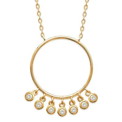 Necklace Anneaux pampilles Zirconium Gold plated 18k...