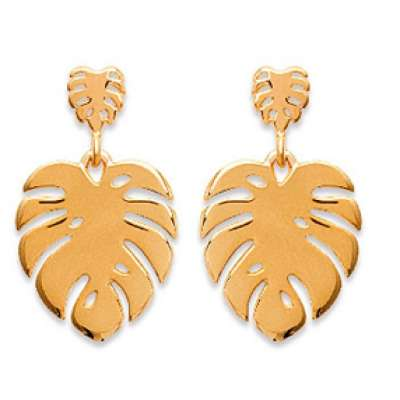 Drop Earrings feuille de Philodendron Gold plated 18k