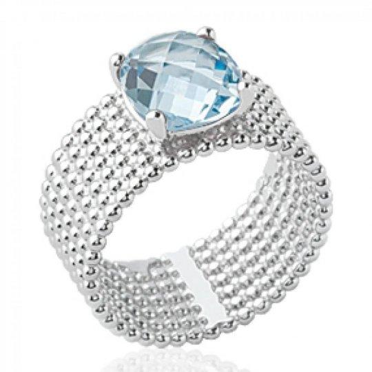 Bague tube perlée pierre d'imitation bleue clair solitaire 8mm Argent Rhodié