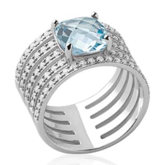 Ring tube pavée pierre bleue clair Solitaire 8mm Argent...