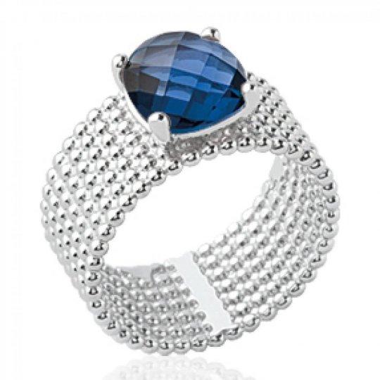 Bague tube perlé pierre d'imitation bleue marine solitaire 8mm Argent Rhodié