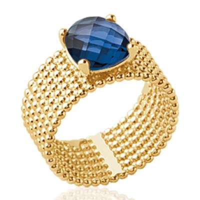 Ring tube perlée pierre d'imitation bleue marine Solitaire 9mm Gold plated 18k - Women