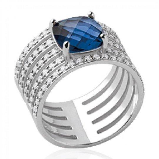 Ring tube ajourée pierre d'imitation bleue marine Solitaire Argent Rhodié