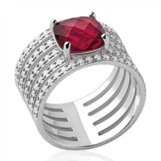 Ring tube grosse pierre rose 8mm pavé Argent Rhodié - Women