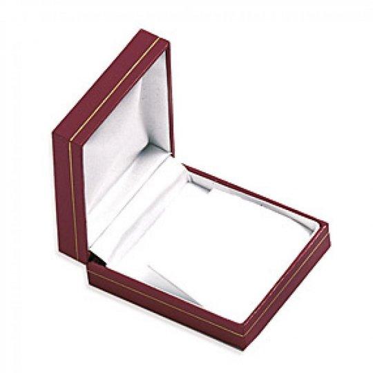 Écrin cuir rouge pour boucles d'oreilles collier avec pendentif boite cadeau 82x70x30mm