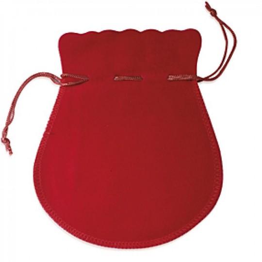 Pochon rouge 60mm pour créoles boucles d'oreilles collier pendentif