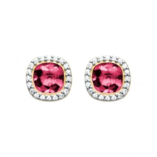 Boucles d'oreilles puces halo art déco pierre rose Plaqué Or