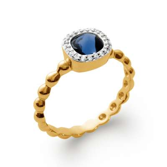 Anello de fiançailles art déco pierre d'imitation bleue Placcato in oro 18k - Donna