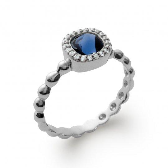 Anello de fiançailles art déco pierre d'imitation bleue Argent Rhodié - Donna