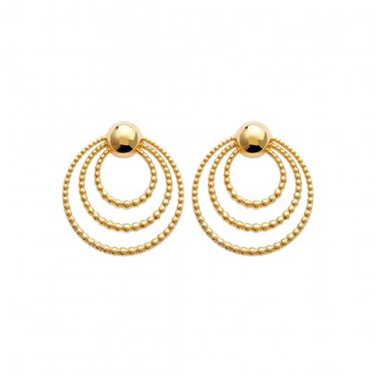 Boucles d'Oreilles 3 anneaux perlés Plaqué Or - Femme
