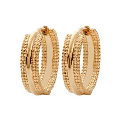Hoop Earrings plates larges 20mm perlées Gold plated 18k...