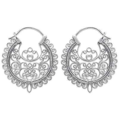 Hoop Earrings Lacework 30mm Argent Rhodié - Women