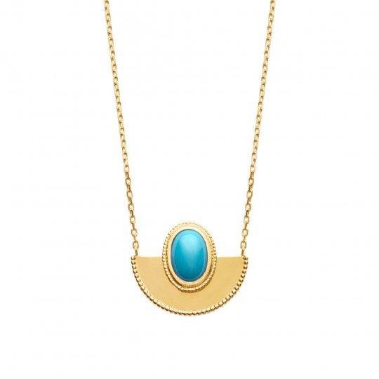 Collier touareg pierre d'imitation Turquoise Plaqué Or - Femme - 45cm