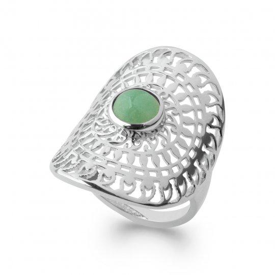 Ring couvrante pierre verte Aventurine Bohème Argent Rhodié