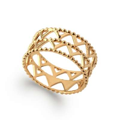 Anello Bracciale Bangle perlée chic petits Triangolos Placcato in oro 18k - Donna