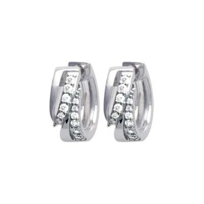 Hoop Earrings chics modernes pavées Argent Rhodié -...