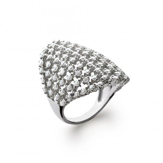 Ring couvrante pavée d'oxydes de zirconium Argent Rhodié