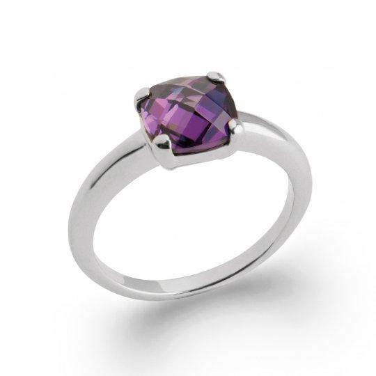 Bague de fiançailles pierre violette Argent Rhodié - Zirconium