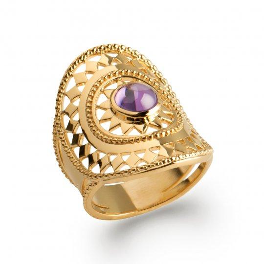 Ring couvrante bohème Lacework pierre violette Gold...