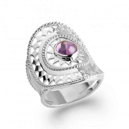 Bague couvrante bohème dentelle pierre violette Argent Rhodié Zircone