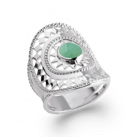 Ring couvrante bohème pierre verte aventurine Argent Rhodié