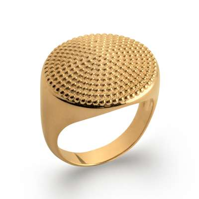 Grosse Ring Signet ring perlée Gold plated 18k - Women