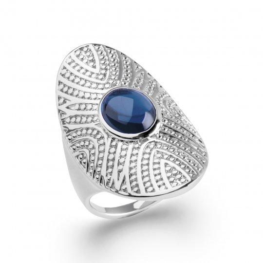 Grosse bague couvrante pierre d'imitation ronde bleue Argent Rhodié - Femme