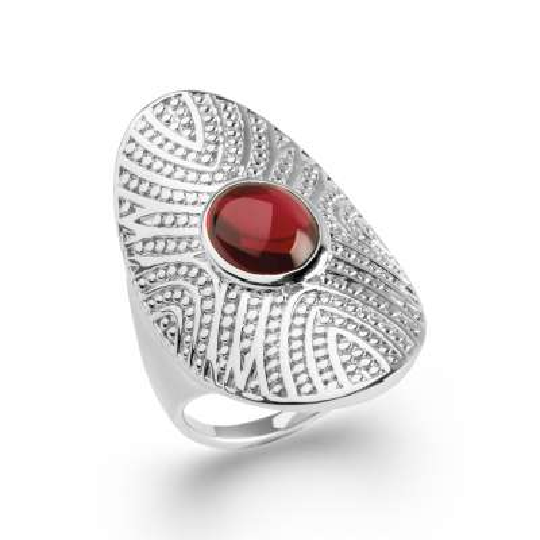 Grosse Ring couvrante cabochon rouge Argent Rhodié - Women
