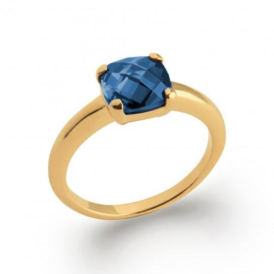 Bague de fiançaille solitaire carré bleu marine Plaqué Or - Femme