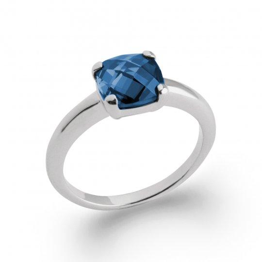 Anello Solitario carré bleu marine Argent Rhodié - Donna