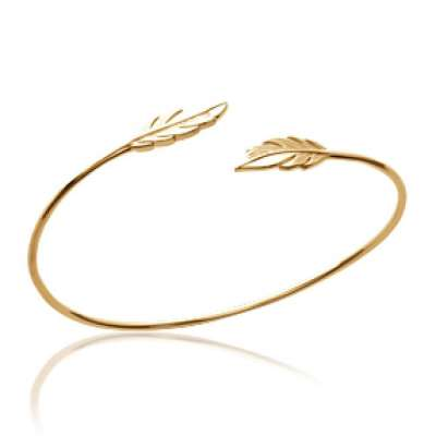 Bangle Feathers Gold plated 18k - Women - 56mm
