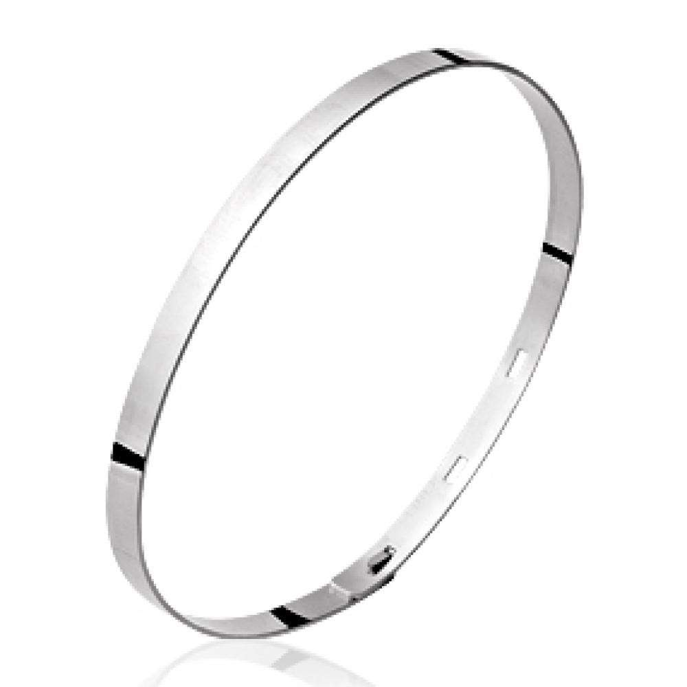 Bangle réglable Rhodium plated Sterling Silver pour for Men Women - 56mm