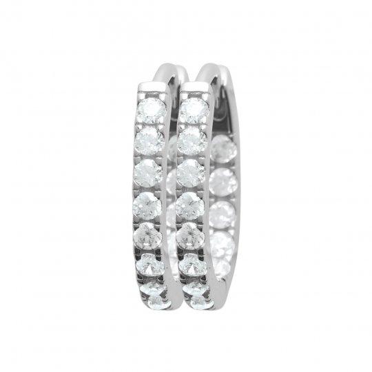 Petites Hoop Earrings Pavées Brillantes Argent Rhodié -...