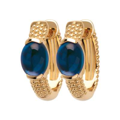 Petites Hoop Earrings avec pierres bleues marine Gold...
