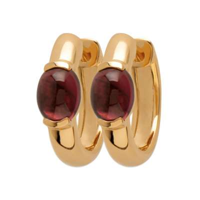 Petites Cerchio Orecchini Placcato in oro 18k Pierre d'imitation Rouge - Donna
