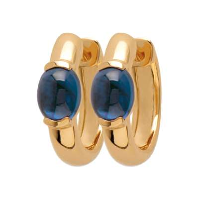 Petites Hoop Earrings Gold plated 18k Pierre Bleue  - Women