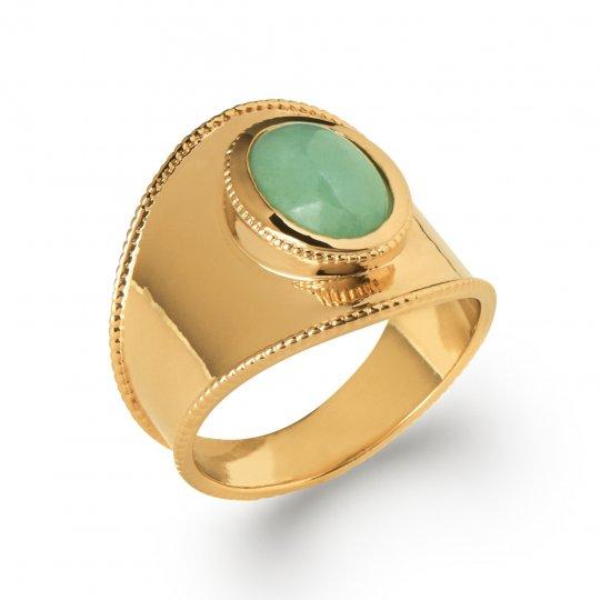Grosse Ring cabochon aventurine Gold plated 18k - Quartz...