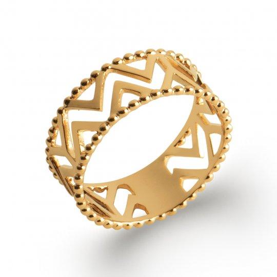 Ring ethnique ajourée Gold plated 18k - Women