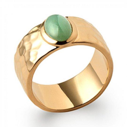 Grosse Ring martelée aventurine Gold plated 18k - Women