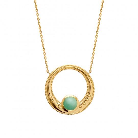 Collier anneau avec aventurine Plaqué Or - Femme - 45cm