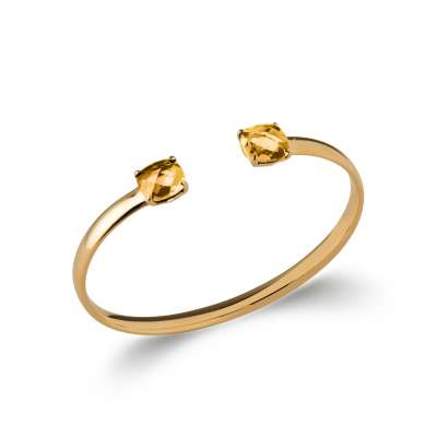 Bangle ouvert grosses pierres d'imit.jaune 9mm Gold plated 18k - 58mm