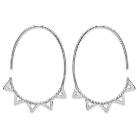 Hoop Earrings Dentées Ouvertes Argent Rhodié - 30mm