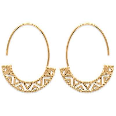 Hoop Earrings ouvertes motif Aztèque Gold plated 18k - 35mm
