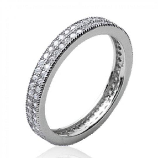 Wedding ring Engagement 3mm Argent Rhodié - Cubic Zirconia Microsertis - Women