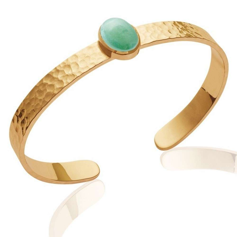 Bangle martelé pierre verte cabochon aventurine Gold plated 18k - 58mm