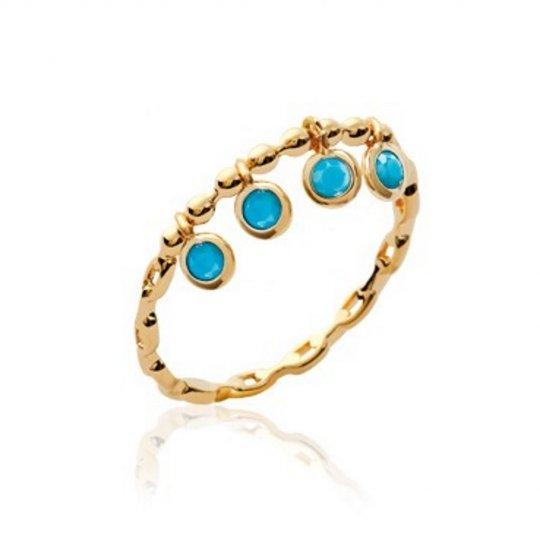 Bague breloques fine pampilles pierre d'imitation bleue turquoise Plaqué Or - Femme