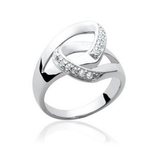 Ring boucles entrelacés Argent Rhodié - Zirconium - Women