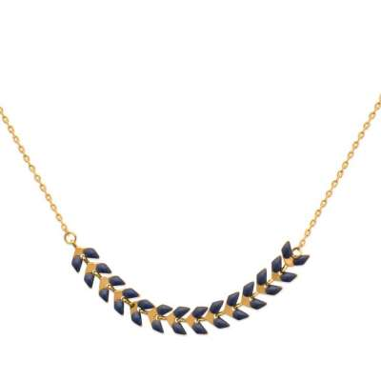 Collana Placcato in oro 18k Email Bleu - Donna - 42cm